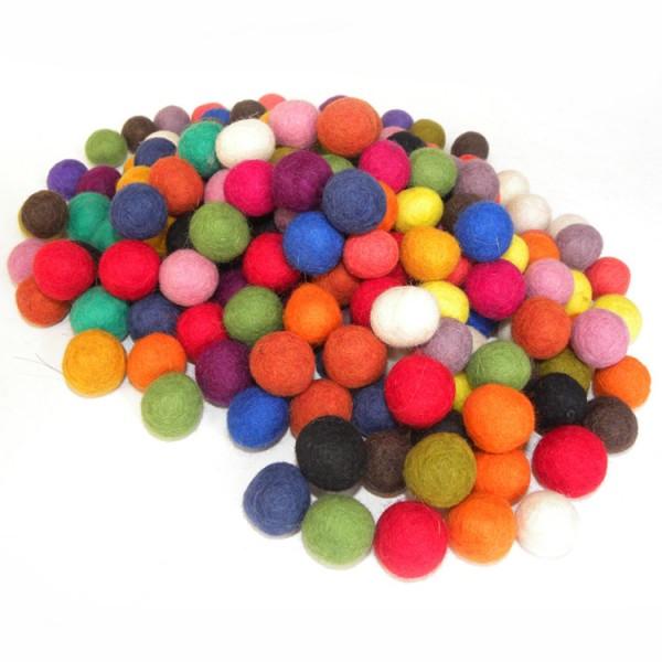 Vilt bal kleuren mix 2,0 cm